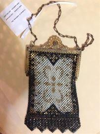 Vintage Mandalian enameled mesh evening bag