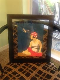 Art Nouveau original painting attributed to Mississippi artist