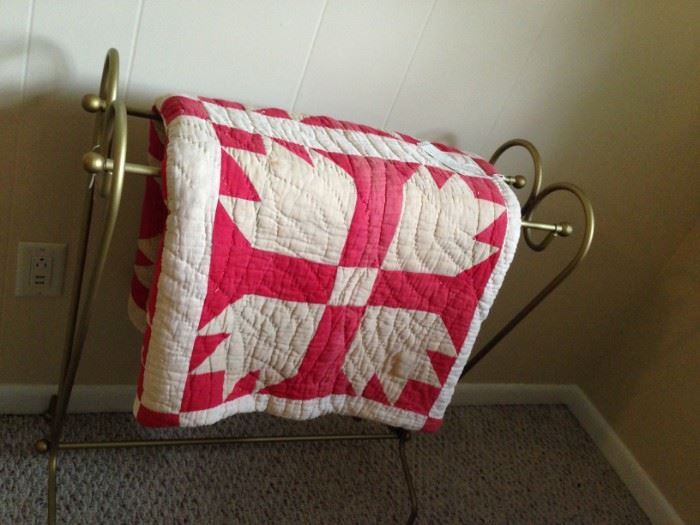 early 20th century handmade quilt with cotton batting