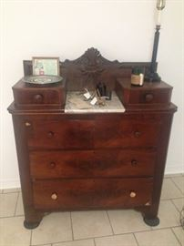 Three drawer chest with glove boxes and original marble surface