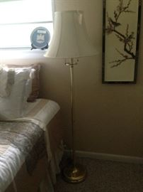 Vintage brass floor lamp with double pulls