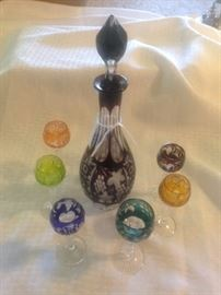 Bohemian cut to clear decanter and 6 stems