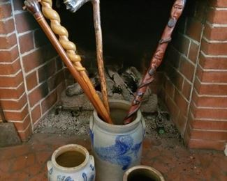 Decorated stoneware and some of Canes offered