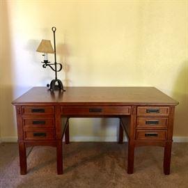 Oak Mission-style Desk w/ Keyboard Tray, File Drawer, Drawers