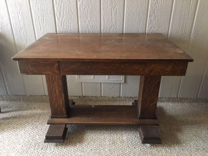 Antique Tiger Oak  Library Table w/ Drawer. Includes a Depression-Era photo of the family using the Library Table.