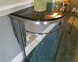 Deco Stainless steel and black glass console table