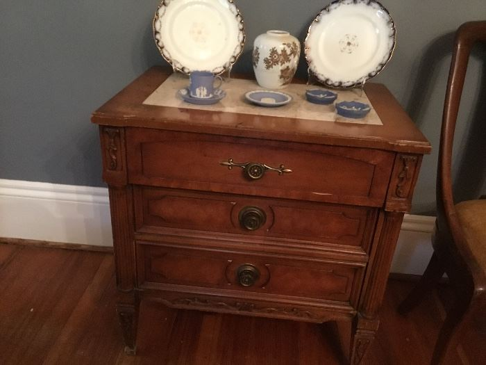 Edwardian two drawer table with marble inset