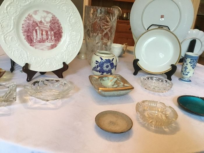 Some delft, a StMary's Swedes Hall commemorative plate, vintage ashtrays and much more