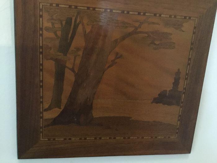 Inlaid wood landscape