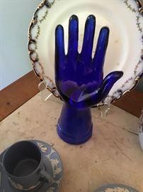Blue glass hand