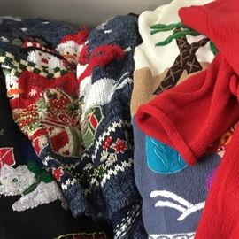 A gaggle of Christmas sweaters