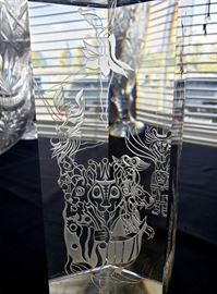 """#18 - Engraved glass pentagon-shaped prism with characters from """"The Nutcracker"""" by glass artist Eric Hilton"""