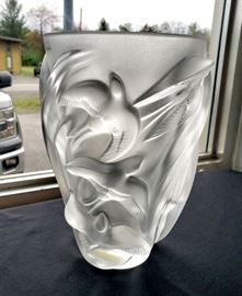"""#28 - Lalique """"Martinets"""" swallows vase - designed by Marie-Claude Lalique in 1982. It can still be purchased from Lalique for $2,800!"""