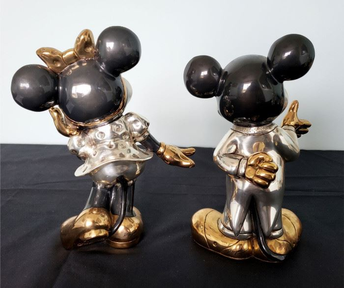 """#29 - D'Argenta Mexico """"Mickey Mouse"""" and """"Minnie Mouse"""" gold/silver-plated figurines"""