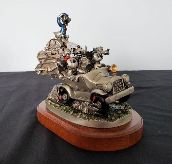 """#30 - 1995 Chilmark Pewter """"California or Bust"""" Mickey Mouse and Friends fine pewter figurine - limited edition 134/250."""