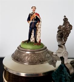 """#38 - WW-Team German beer stein - """"Falkenstein Castle"""" - limited edition 1965/9000. Second in the series """"Romantic Germany"""". There is a miniature figure of King Ludwig II on the lid."""