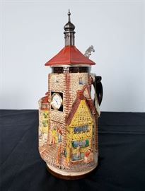 """#39 - WW-Team German beer stein - """"Rothenburg Plönlein Clock Tower"""" - limited edition 6157/9000. Second release in the series """"Germany's Most Beautiful Citadels, Castles, and Buildings"""". The clock tower has a functional clock on it."""