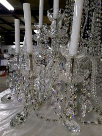 """#40 - Swarovski Crystal chandelier - this is massive at over 3 feet tall with a whopping 18 lights! Pictures do not do it justice. The crystals are magically beautiful! When you see this in person, you can tell these are not ordinary chandelier crystals. Upon further research, we believe this chandelier is actually made by King's Chandelier Company in North Carolina, and not Schonbek as previously stated. It is their """"King"""" model, which can still be purchased for $8,279! They use Swarovski crystals and you can purchase replacements for the missing ones on their website."""