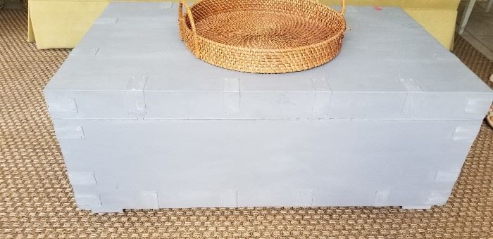 Grey-washed blanket chest with storage