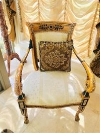 """FRENCH STYLE HAND-PAINTED CHAIRS-2 AVAILABLE (24""""W x 21""""D x 38""""T)"""
