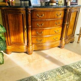 """WOODEN MARBLE TOP CABINET (77""""W x 24.5""""D x 42""""T)"""