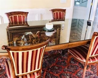 """TRADITIONAL FORMAL DINING TABLE WITH NEWLY UPHOLSTERED 6 CHAIRS (94""""L x 47""""W x 30""""H)"""