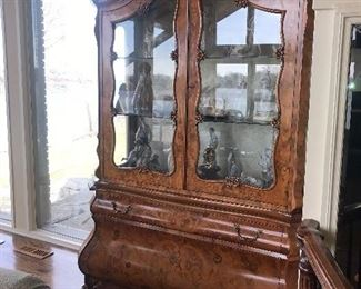 """ITALIAN MAGGIOLINI STYLE MAPLE BURL CHINA CABINET WITH INLAYED FLORAL PATTERN (63""""W x 23""""D x 99""""H)"""