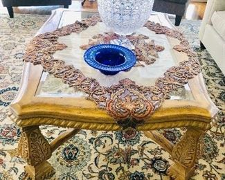 """TRADITIONAL WOODEN GLASS TOP COFFEE TABLE 50""""L x 40""""W x 20""""H)"""