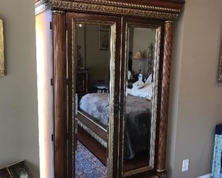 """GORGEOUS ORNATE FRENCH STYLE KING SIZE BEDROOM SET WARDROBE (44""""W x 23""""D x 88""""H) LARGE MIRROR (40.5""""W x 90""""H) 2 NIGHTSTANDS (33.5""""W x 18""""D x 31.5""""H) DRESSER WITHOUT MIRROR (71""""L x 20.5""""D x 42""""H) DRESSER MIRROR MEASURES (65""""W x 48""""H) KING SIZE BED (82""""W  x 93""""L x 72""""H)"""