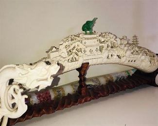 LARGE ASIAN CARVING FIGURINE FROM WHALE BONE