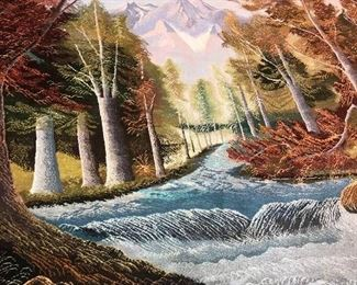 """ONE OF A KIND NATURE / TREES HAND WOVEN WOOL RUG-(116""""L x 77""""W)"""