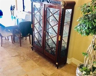 """LUXURIOUS VERSACE STYLE CHINA CABINET WITH GILDED GOLD ACCENTS AND GREEK KEY DESIGN-CHINA CABINET MEASURES (61""""W x 16.5""""D x 78.5""""H)"""