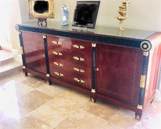 """LUXURIOUS VERSACE STYLE BUFFET WITH GILDED GOLD ACCENTS AND GREEK KEY DESIGN-BUFFET MEASURES (93""""L  x 22""""D x 39""""H)"""