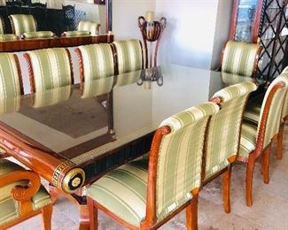 """LUXURIOUS VERSACE STYLE FORMAL DINING TABLE & 8 CHAIRS WITH GILDED GOLD ACCENTS AND GREEK KEY DESIGN-TABLE MEASURES (101""""L x 50""""W x 32""""H)"""