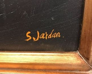 "ORIGINAL S. JARDAN OIL ON CANVAS PAINTING IN BEAUTIFUL ORNATE FRAME (58""L x 46""W)"