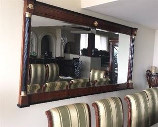 """LUXURIOUS VERSACE STYLE MIRROR WITH GILDED GOLD ACCENTS AND GREEK KEY DESIGN-MIRROR MEASURES (84""""L x 43""""H)"""