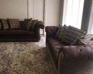 """BEAUTIFUL TUFTED LEATHER SOFA-2 AVAILABLE (98""""L x 43""""D x 32""""H)"""