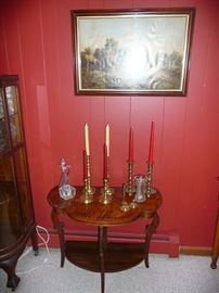 Table & Brass Candlesticks