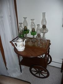 Oil Lamps & Tea Cart