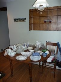 Round Oak Table & China