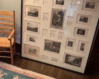 Huge framed montage of anique prints.