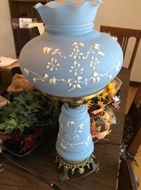 Antique Handpainted Satin Glass Lamp