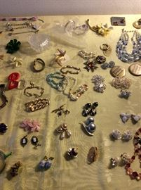 Incredible amount of spectacular costume and genuine jewelry! Earrings (pierced & clip) Bracelets, Necklaces, Pins, Watches, Rings, Hair Clips, More!