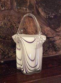 Huge Vintage Murano Art Glass Handbag Purse Basket