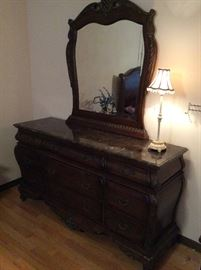 Carved Mirrored Dresser w Marbled Top, Lamp
