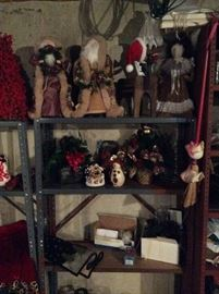Christmas Santas, Trees, Shelf, More