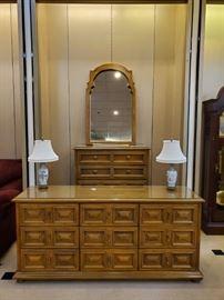 Mid Century Modern dresser, mirror, and chest!