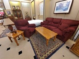 Corduroy burgundy couch and oversized matching POWER chair.  The couch has recliners on both ends.  Great condition!