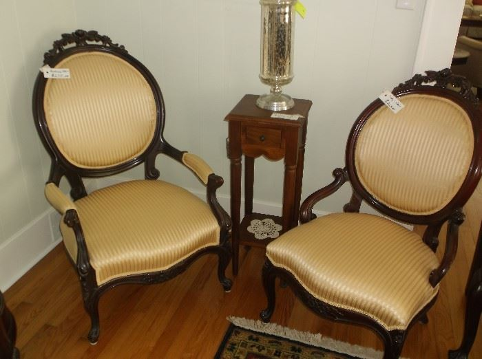 Pair of Mr. and Mrs. balloon back  chairs and mercury glass vase