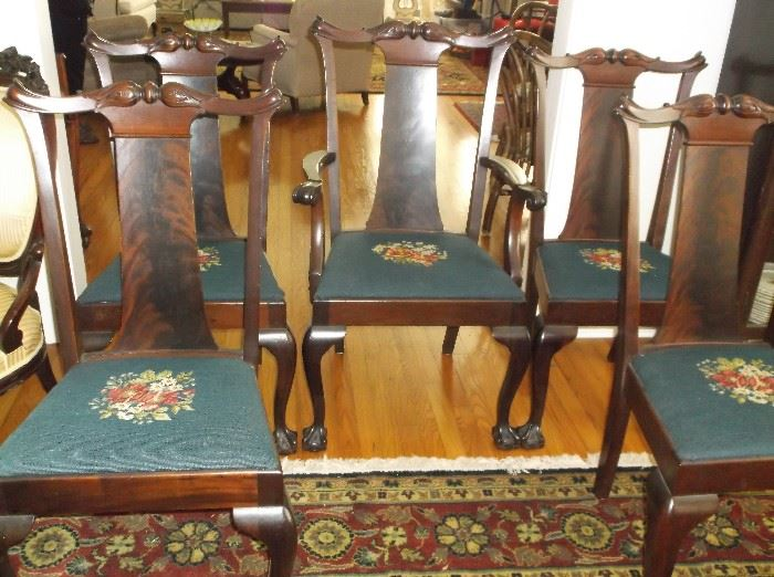 Set of eight dining chairs w/needlepoint seats (2 arm chairs and 6 side chairs)